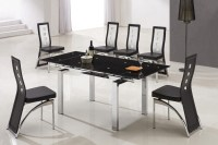 Designer Extended Tempered Glass Dining Table with 6 Black ...