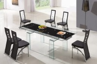 Designer Tempered Glass Legs Dining Table with 6 Black and ...