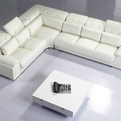 White Leather Sectional Sofa With Ottoman Repairs Camellia Top Graded Real Corner