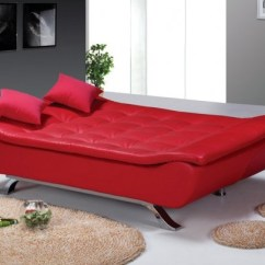 Faux Leather Sofa Bed Uk Southern Furniture Maria Designer Red 4 Seater With Removable Mattress