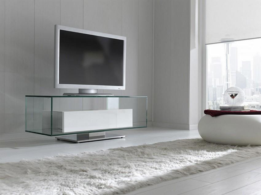 Mesa de Televisin de Cristal con frente Lacado