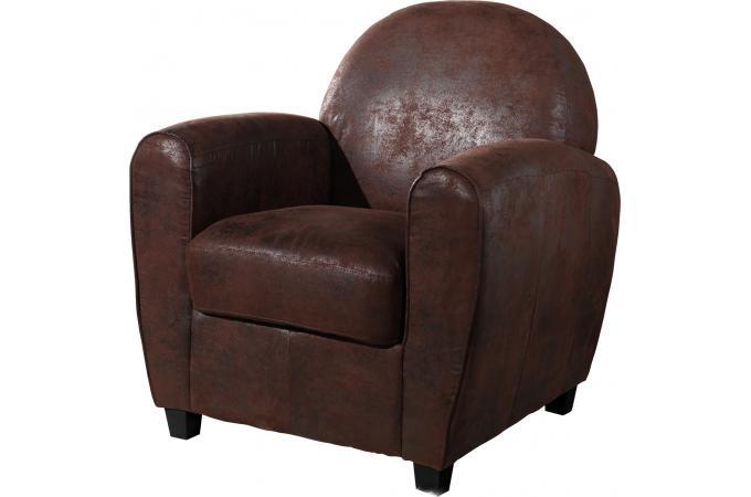 fauteuil club marron vieilli patricia