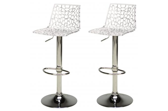 lot de 2 tabourets de bar design transparents smart