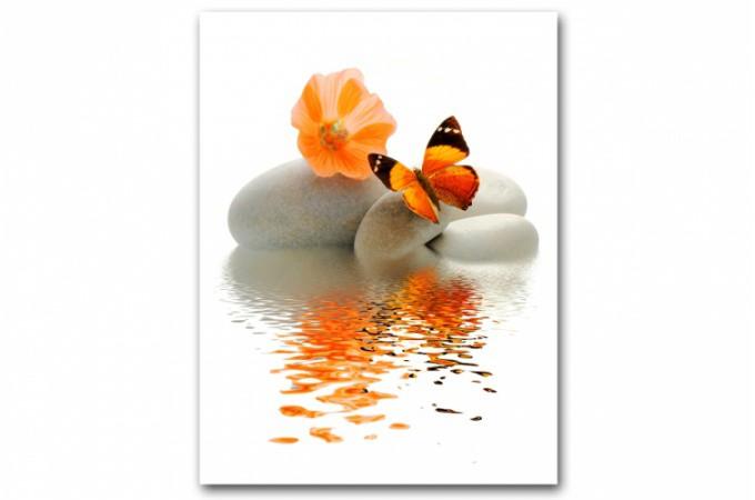 Tableau Zen Papillon Orange Sur Galet L55 x H80 cm ANYA  dco design sur SoFactory