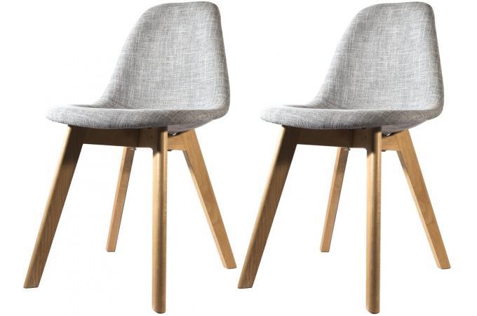 lot de 2 chaises scandinave en tissu grise norway