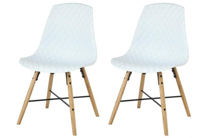 lot de 2 chaises scandinaves blanches en chene lisa