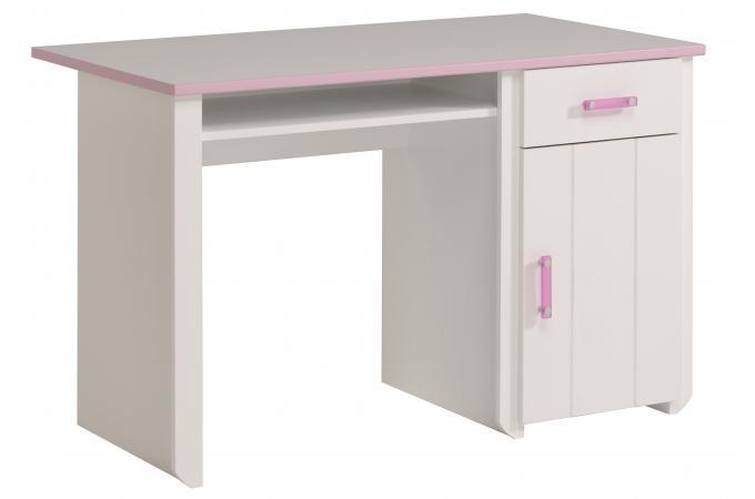 bureau en imitation bois rose et blanc magellan