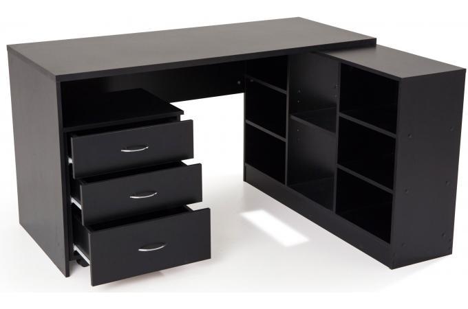 Bureau En Imitation Bois Noir Avec Retour TREND Design Sur