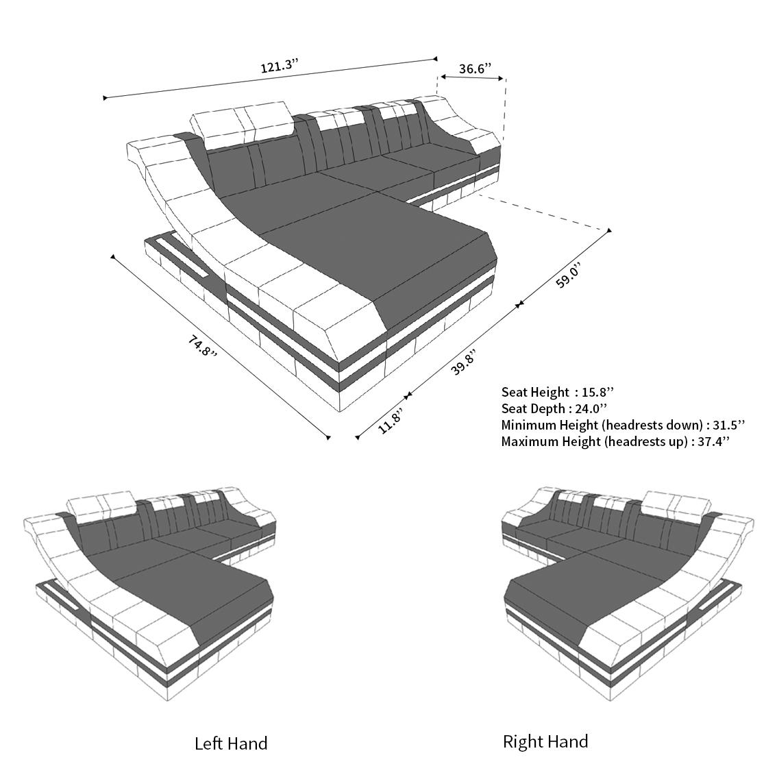 Luxury Sectional Sofa New York L Shape Led
