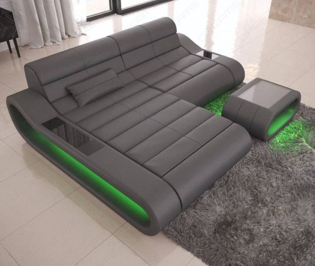 Design Sofa Sectional Concept L Shape With Led Lights Grey