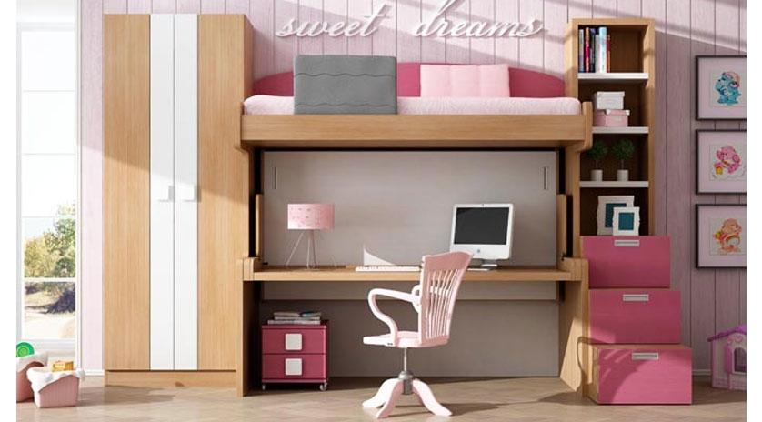 Dos camas de 90 x 190 con litera fija arriba y mesa  Sofas Cama Cruces