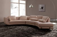 White Italian Leather Round sectional sofa 20