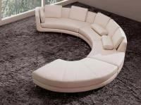 White Italian Leather Round sectional sofa 20