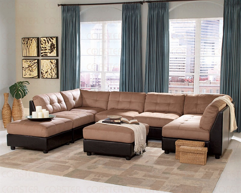 fabric sofa sets with wood trim table behind couch against wall claude brown microfiber sectional set | sectionals