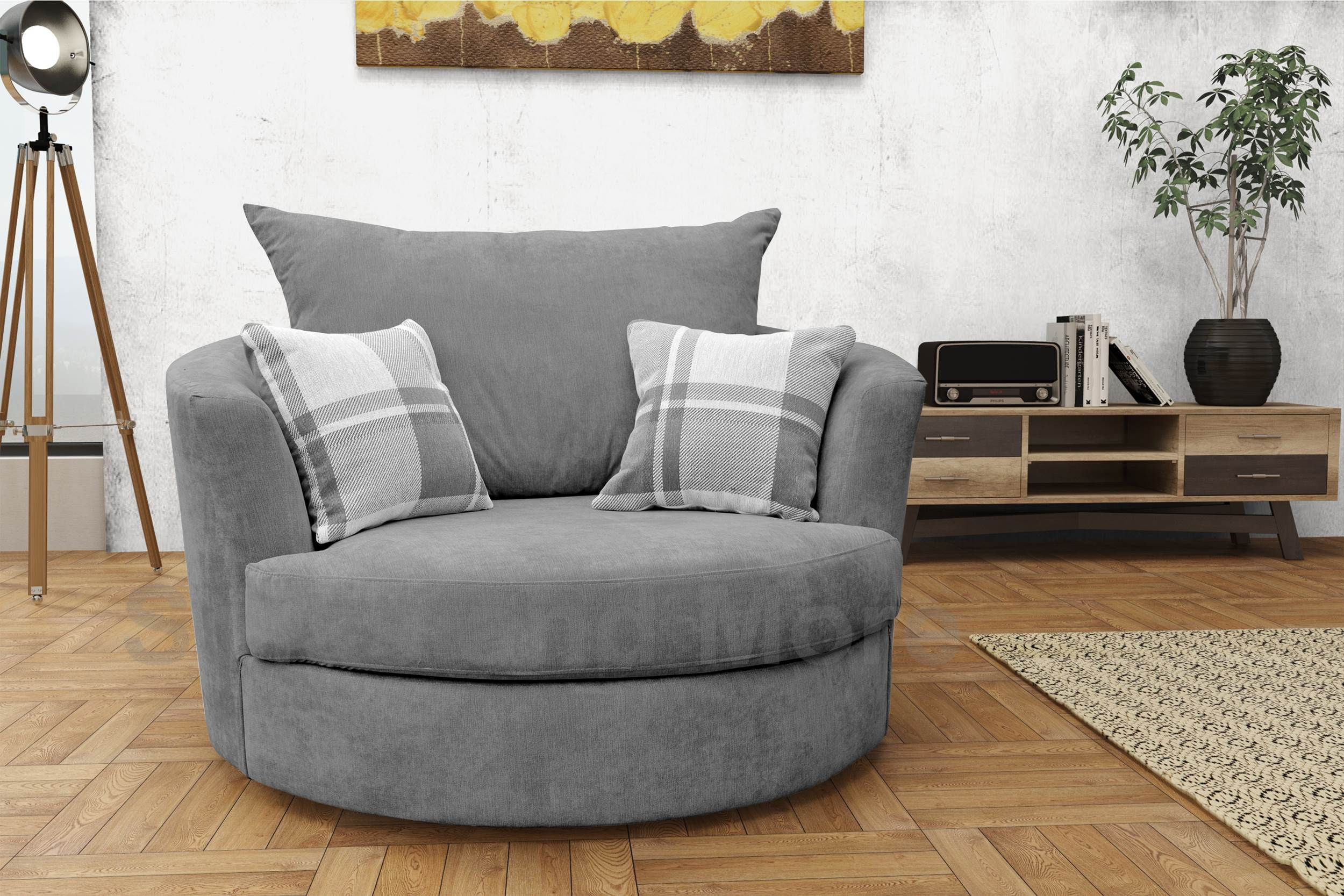 snuggle sofa and swivel chair kroehler furniture sofas large round cuddle fabric grey cream brown