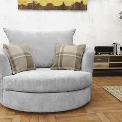 Grey Round Sofa Chair Light Brown Leather Set Large Swivel Cuddle Fabric Cream