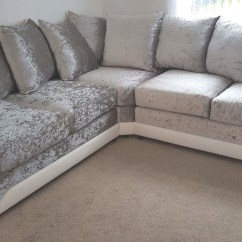 White Velvet Sofa Uk Lane Sofas Ratings Shannon Corner Crushed Fabric 3 432 Seater