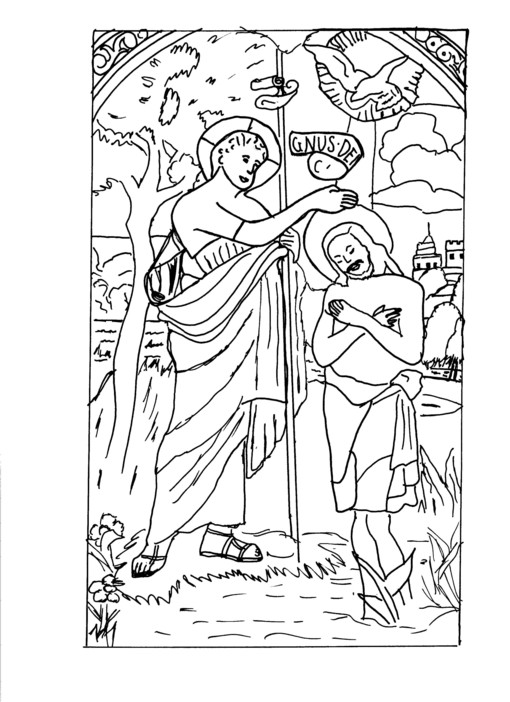 Jesus Is Baptized Coloring Page Coloring Pages