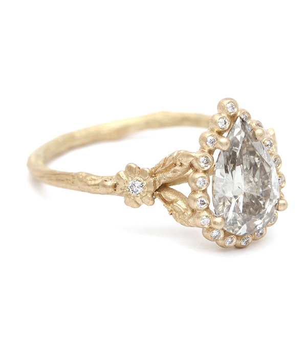 SK Archive  Dewdrops in the Garden  Pear Shape Diamond Ring