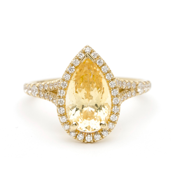 One of a Kind  The Bellini RingYellow Sapphire Engagement Ring