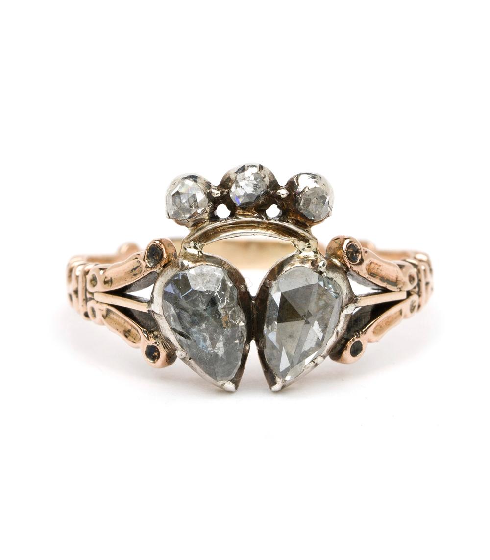 Vintage Archive Georgian Rose Cut Diamond Double Hearts Ring