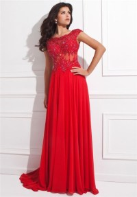 A Line Cap Sleeve Open Back Red Chiffon Lace Beaded Long ...