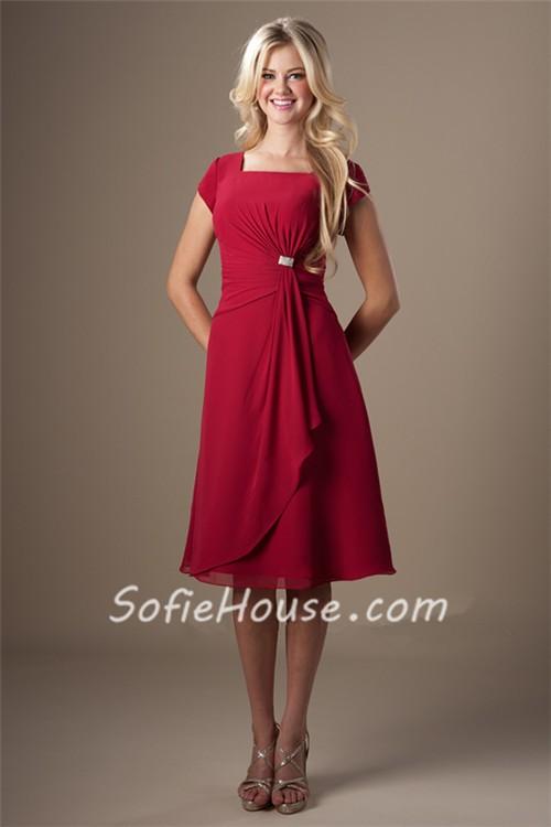 A Line Square Neck Red Chiffon Draped Short Bridesmaid Dress Cap Sleeves