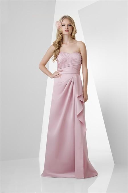 A Line Strapless Long Pearl Pink Satin Draped Bridesmaid