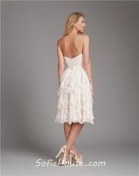 A Line Strapless Short Ivory Cream Chiffon Ruffle Wedding ...
