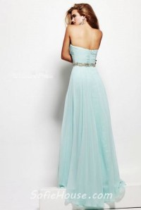 A Line Strapless Sweetheart Long Baby Blue Chiffon Beaded ...