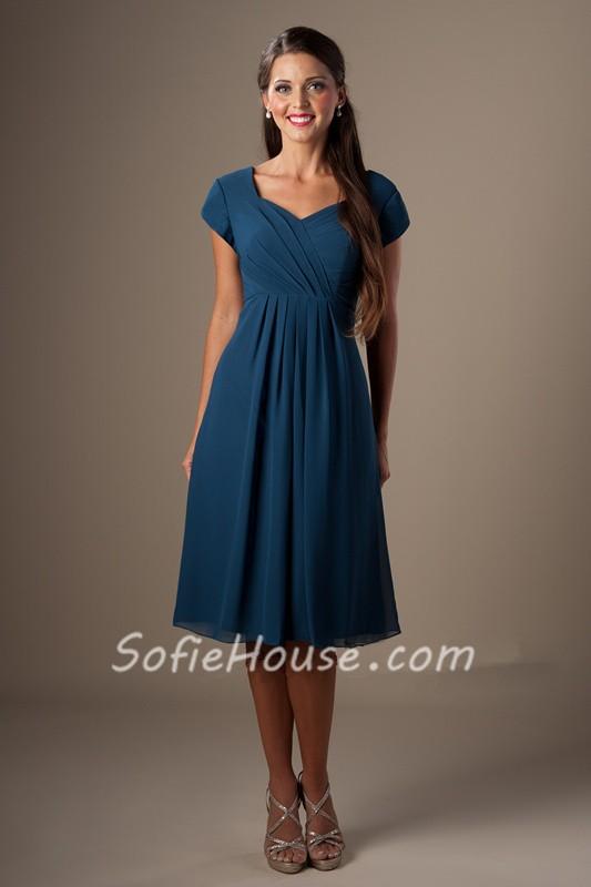 A Line Sweetheart Cap Sleeves Tea Length Navy Blue Chiffon Party Bridesmaid Dress