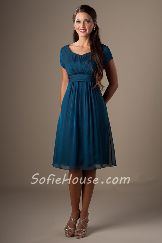 A Line Sweetheart Short Sleeves Teal Chiffon Modest Party Bridesmaid Dress