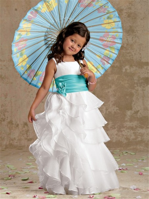 A Line Princess Scoop Floor Length White Organza Designer