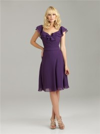 A line v neck knee length short purple chiffon bridesmaid ...