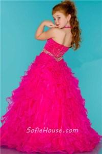 Ball Gown Halter Hot Pink Ruffle Beaded Cute Little Flower ...