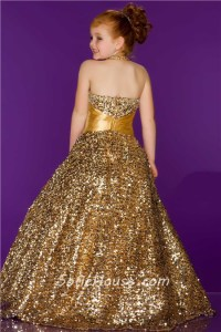 Ball Gown Halter Long Gold Sequin Little Girl Evening Prom ...