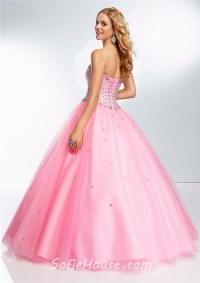 Ball Gown Strapless Sweetheart Neckline Pink Tulle Beaded ...