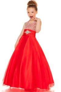 Ball Halter Red Tulle Beaded Little Flower Girl Party Prom ...