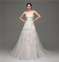 Classy A Line Strapless Champagne Satin Ivory Lace Wedding ...