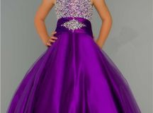 Cute Ball Gown Halter Purple Tulle Beading Flower Girl ...