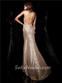 Designer Sheath Halter Long Champagne Gold Sequined Prom ...