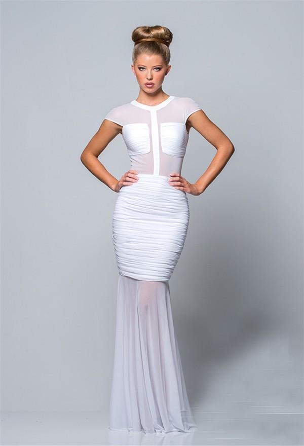Elegant Mermaid Cap Sleeve Long White Chiffon Ruched Evening Prom Dress