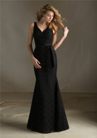 Elegant Mermaid V Neck Long Black Lace Wedding Guest ...