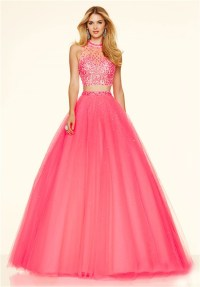 Fashion Ball Gown High Neck Two Piece Hot Pink Tulle ...
