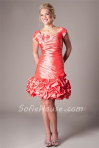 Fitted Cap Sleeve Short Coral Taffeta Ruched Prom Dress ...