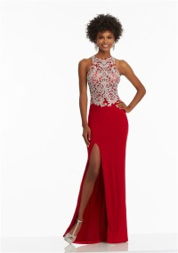 Fitted High Neck Long Red Jersey Embroidery Prom Dress ...