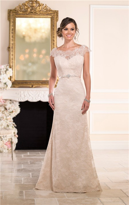 Fitted Scalloped Neck Cap Sleeve Open Back Champagne Lace