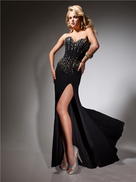 Formal Sweetheart Long Black Chiffon Beaded Corset Evening Prom Dress With Split