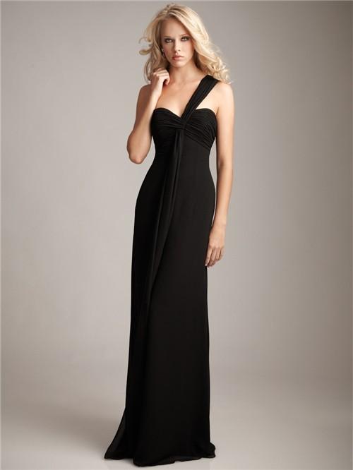 Formal Sweetheart One Shoulder Floor Length Long Black