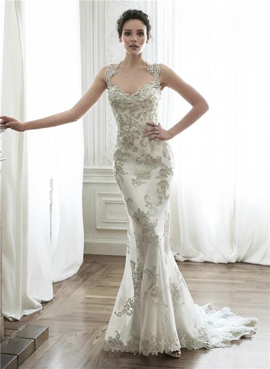 Gorgeous Mermaid Queen Anne Neckline Backless Applique